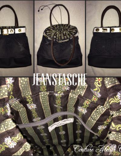 Upcycling einer Jeans zur Tasche mit Innentaschen und Schlüsselfinder