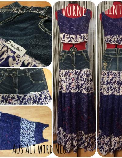 Upcycling eines Kleides und einer Jeans zu einem einzigen Outfit