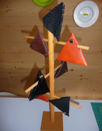Dreiecksbeutel aus Leder, Kunstleder oder Filz für Münzen etc.