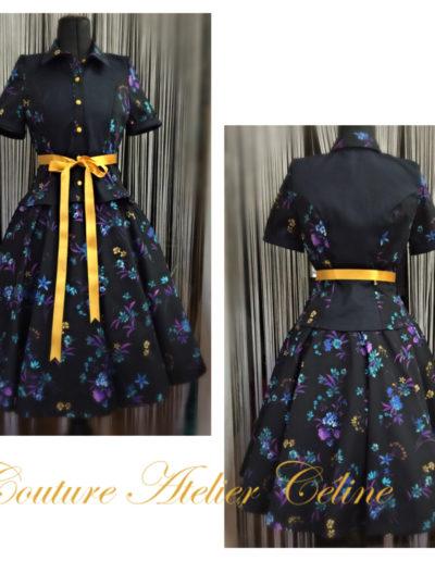 Bluse mit Kreisjupe und Petticoat
